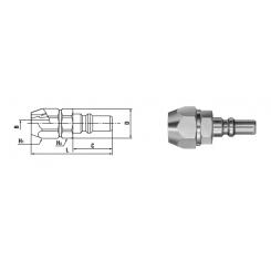 Small Cupla PN TYPE 4.5 - 6 mm Polyamide. 4 - 6 mm Polyurethane